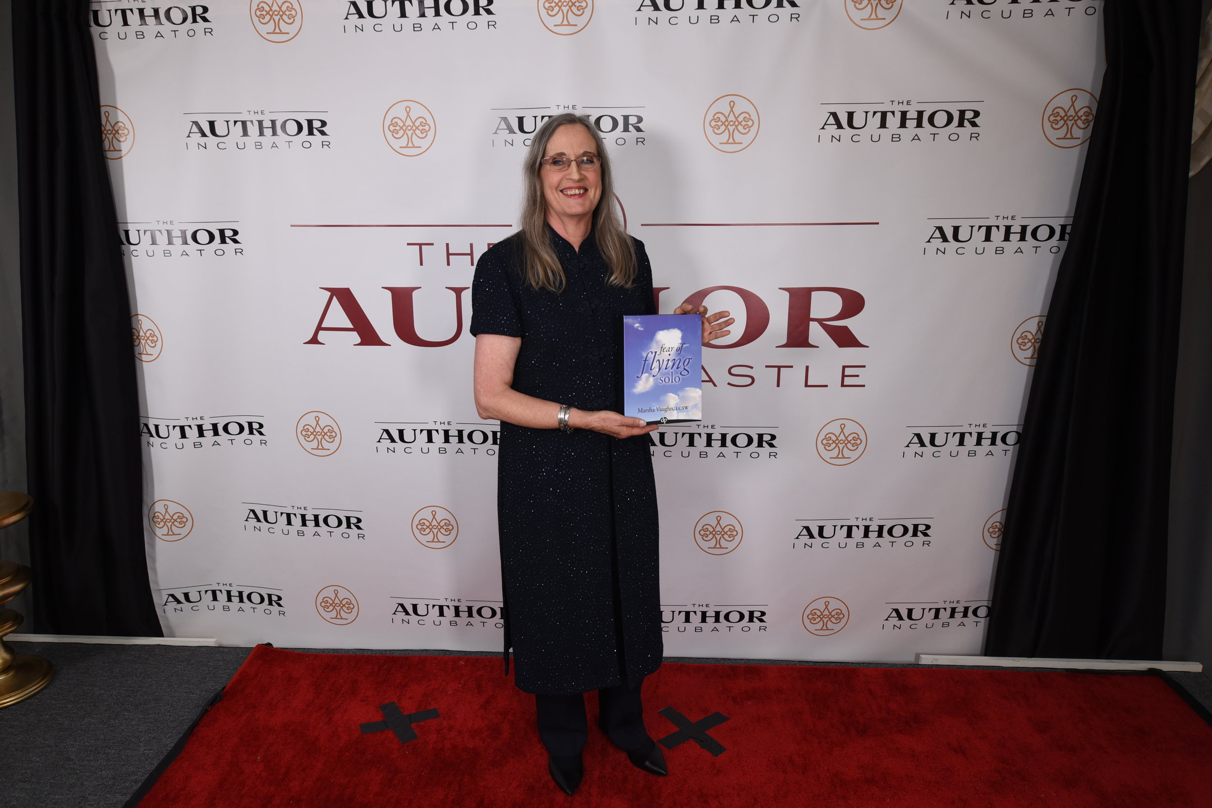 The Red Carpet Launch of my book, Fear of Flying Solo at the Author Castle in McLean, Virginia.