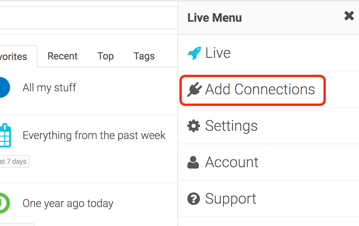 Add Connection from header