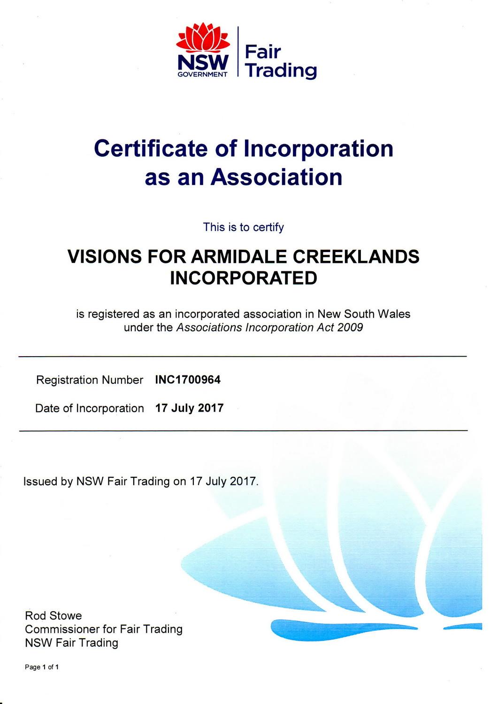 CertificateOfIncorporation-VisionsforArmidaleCreeklandsInc.jpg