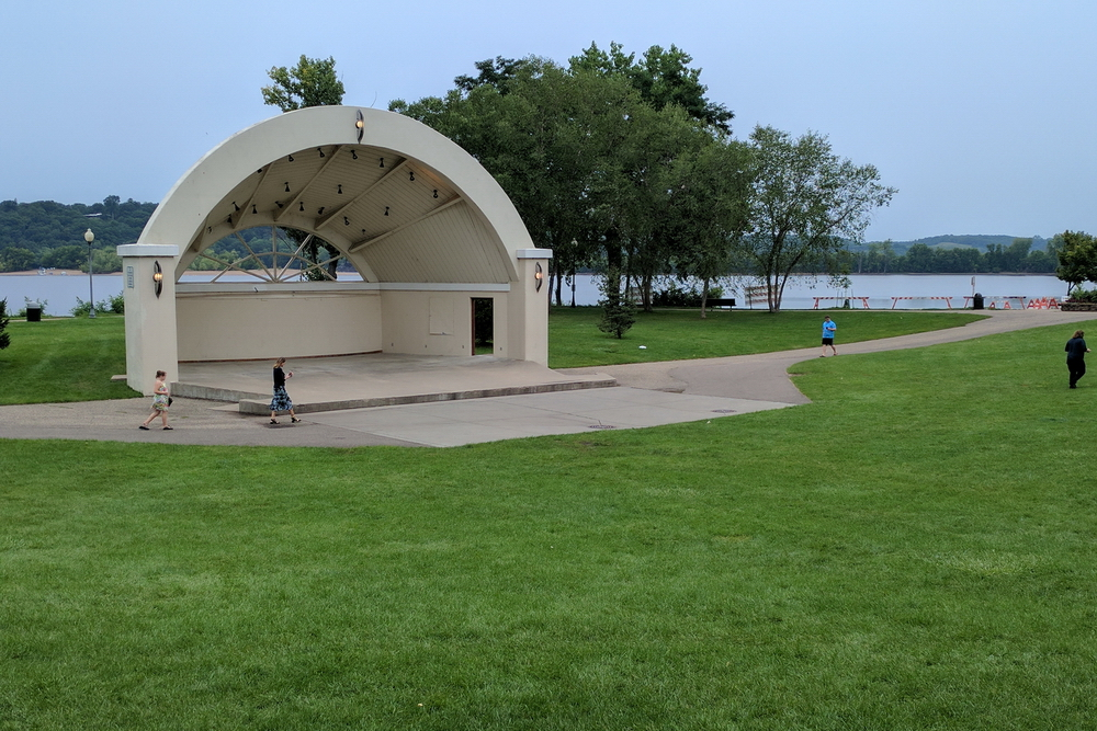 Free concerts are held during summer at the Lakefront Park Bandshell - on the St Croix river - in Hudson, Wisconsin, USA