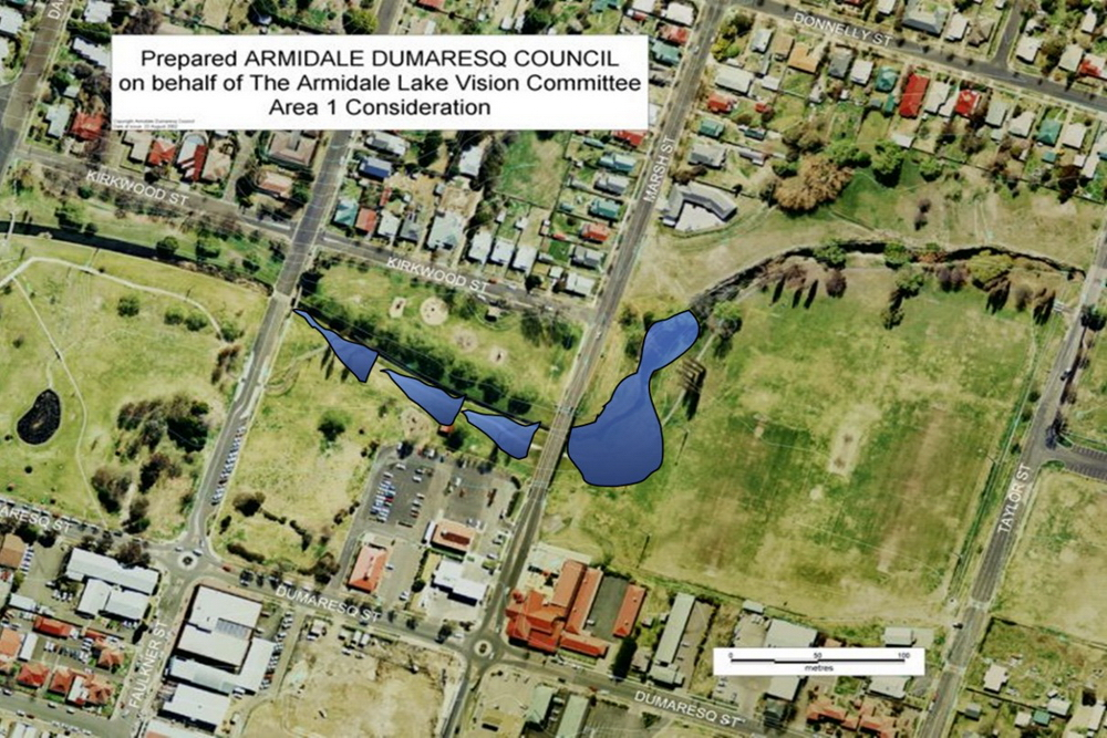 Candidate area 1 - near Marsh St and Stephens bridge - proposed by Armidale Lake Vision committee in 2002