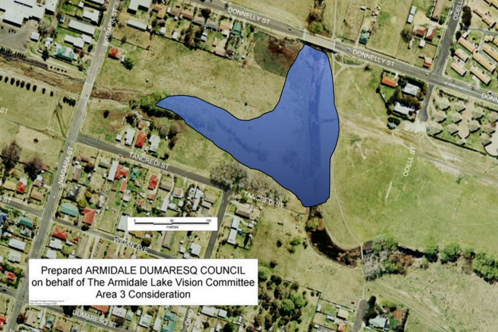 Candidate area 3 - south of Donnelly St bridge -proposed by Armidale Lake Vision committee in 2002