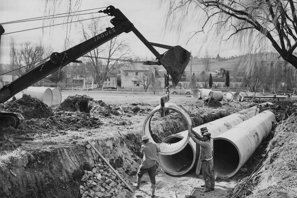 Major drainage works near Butler St - 1959