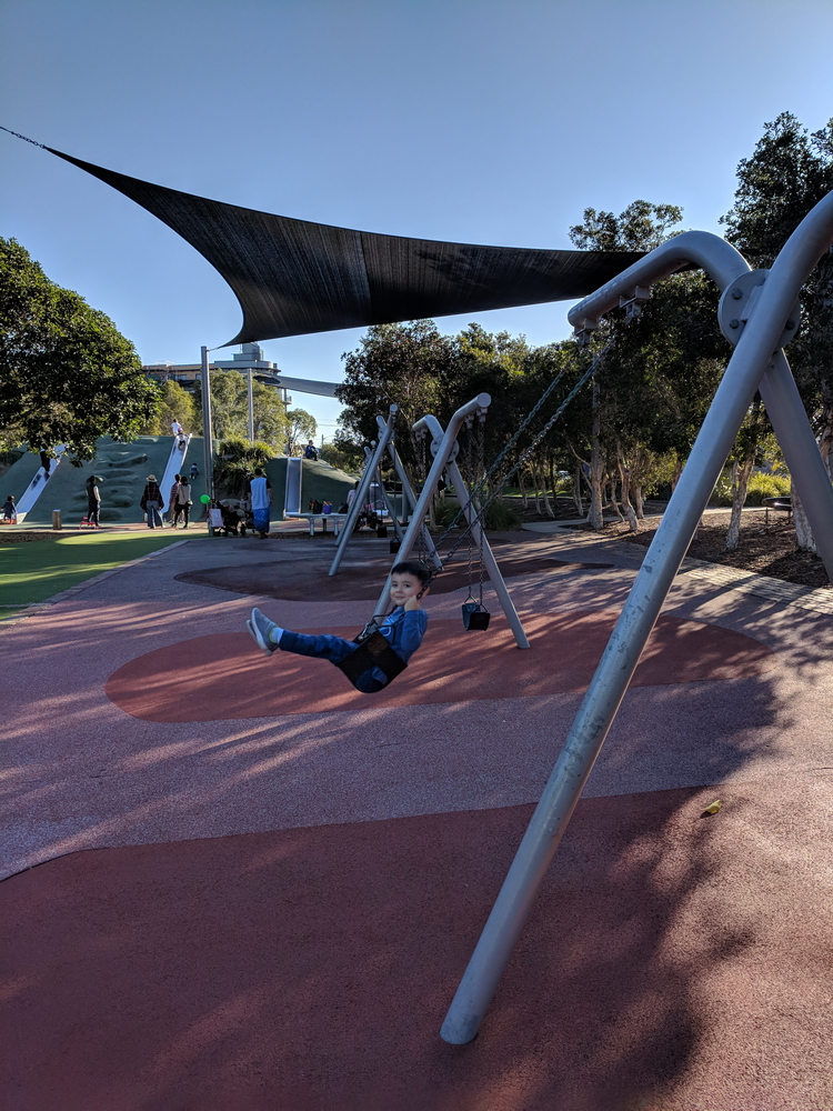 Swings, shade and 4 slides