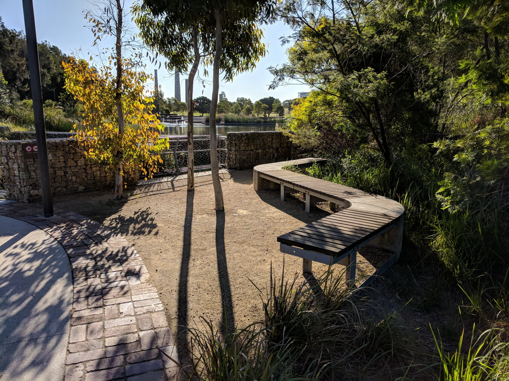 Attractive seating near water features