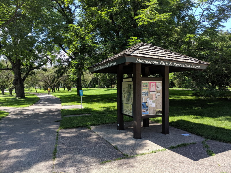 Interpretation signage with maps along the Grand Rounds Parkway