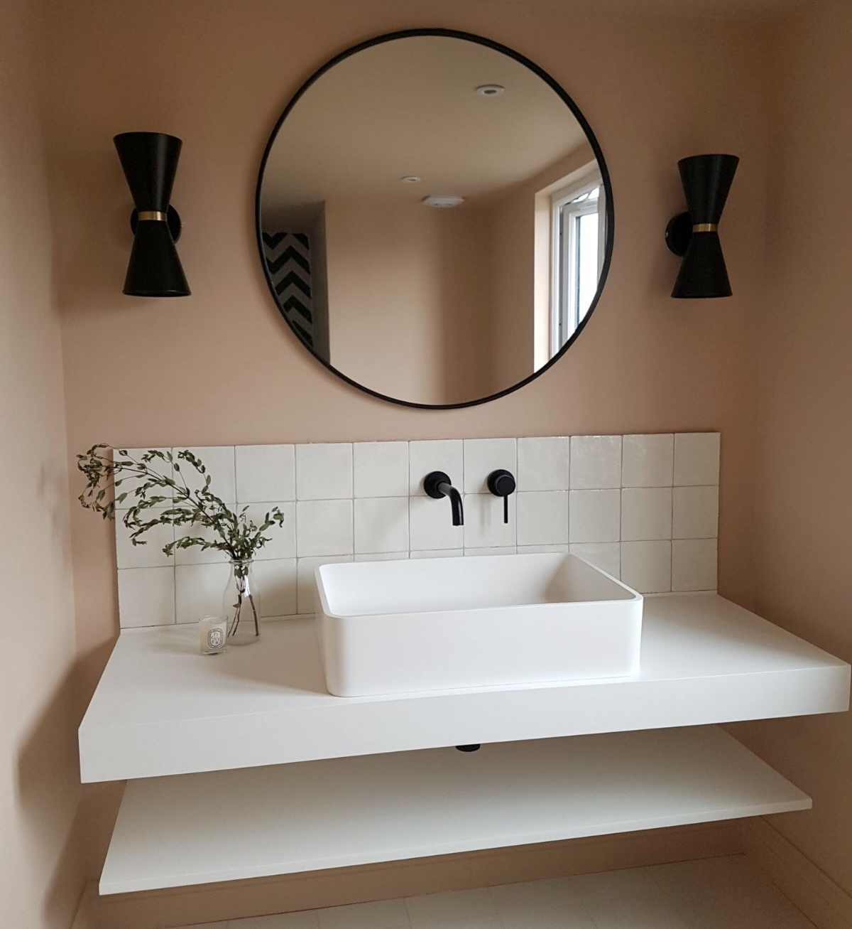 Lighting - Made.com  Ogilvy  wall light  Mirror -  Maison Du Monde    Taps, sink and sink shelves, all from  Lusso Stone   Tiles -  Bert and May  (glazed terracotta tiles)