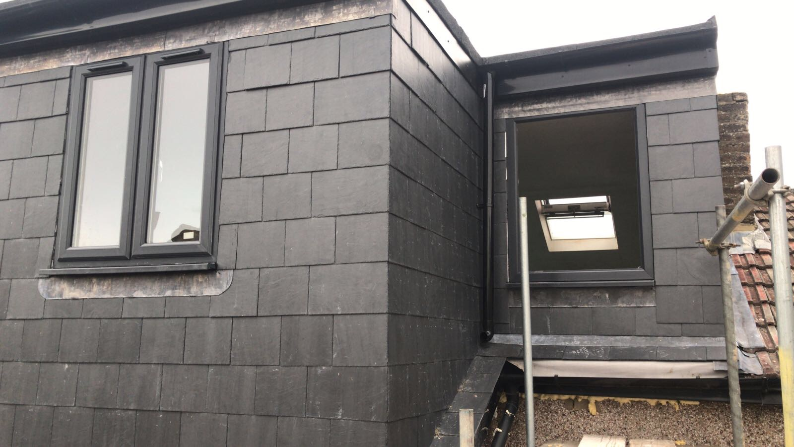 Grey windows - To match the tiles on the new roof and dormer