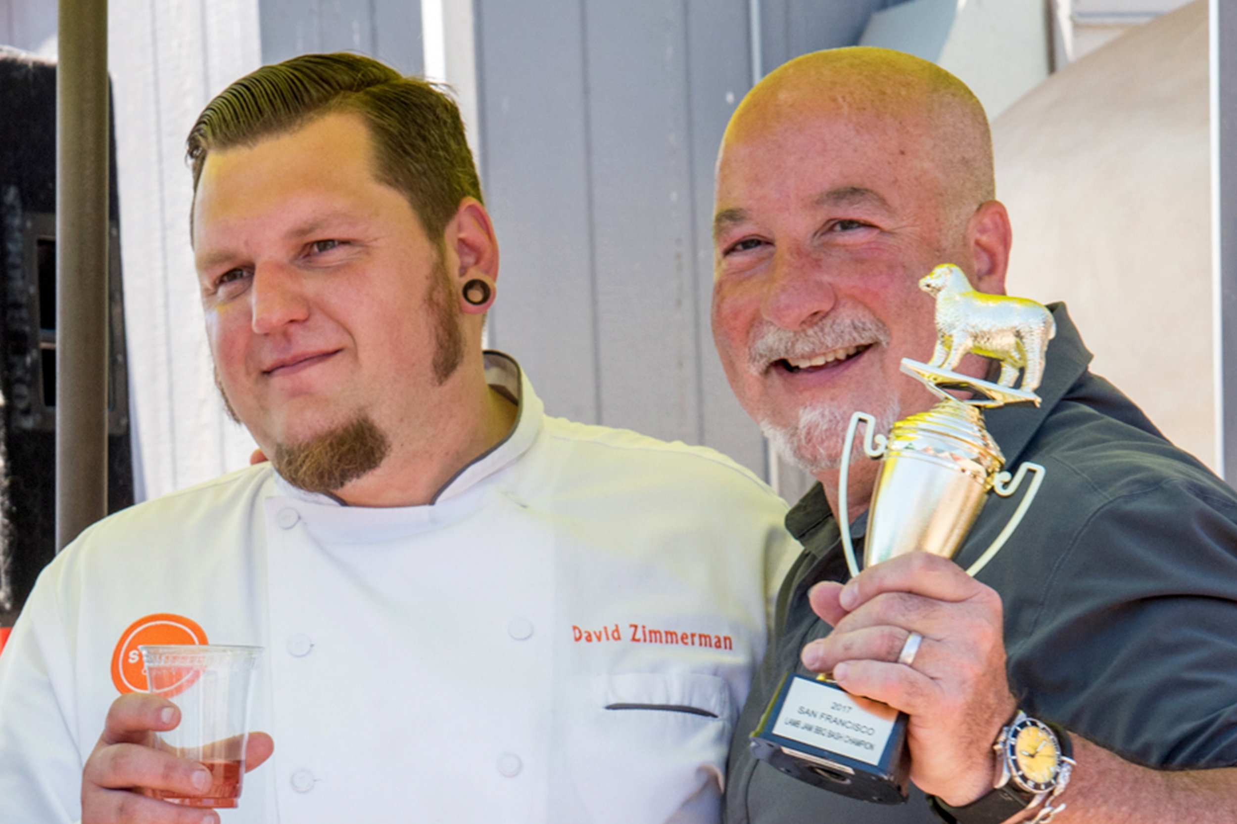 San Francisco - 2017 - 2017 Lamb Jam Master Chef Mark Stark (right) and Chef de Cuisine David Zimmerman from Bird & The Bottle accepting Best in Show trophy at 2017 San Francisco Lamb Jam.  Chef Stark went on to be crowned 2017 Lamb Jam Master at Lamb Jam Finale which took place at the Music City Food & Wine Fest.