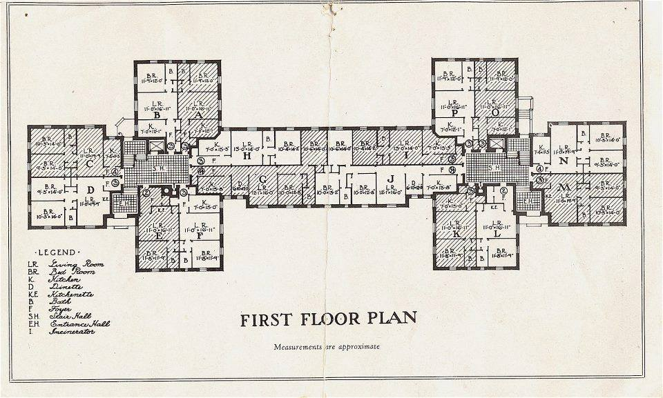 - Original first floor plan for each building