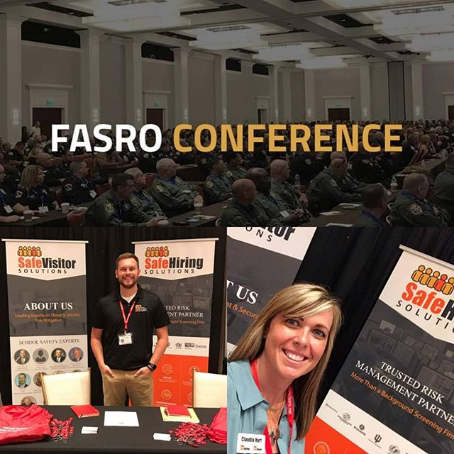This week Claudia and Isaac are attending the Florida Association of School Resource Officers Conference 2019. FASRO provides one of the most advanced and comprehensive training programs for school-based police and school administrators and is also one of the oldest and most experienced school policing organizations in the United States with currently over 800 members. Keep up the great work! * * * * * * #PreventativeSecurity #Safety #Security #BackGroundChecks #Police #Schools #Conference #VisitorManagementSystem #SafeHiringSolutions #SafeVisitorSolutions #TrustedRiskManagement #SecurityAssessments #ArrestMonitoring #FASRO2019