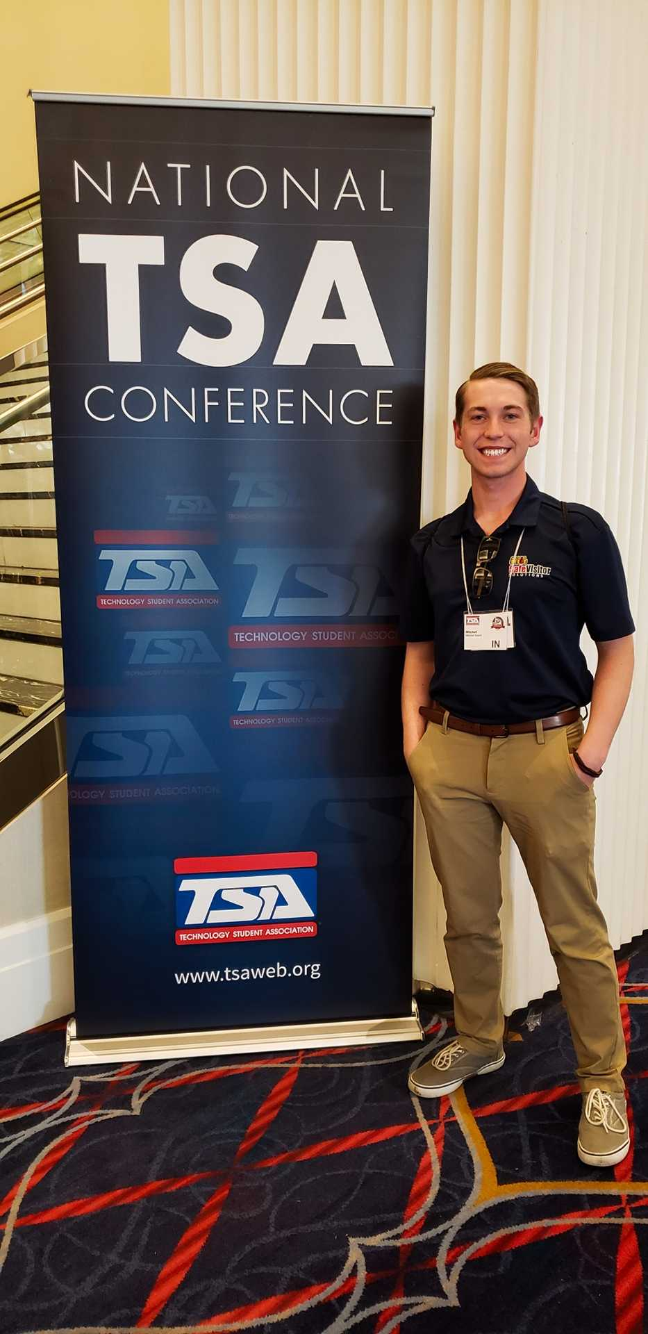Mitchell at the nation Technology Student Association conference in D.C.