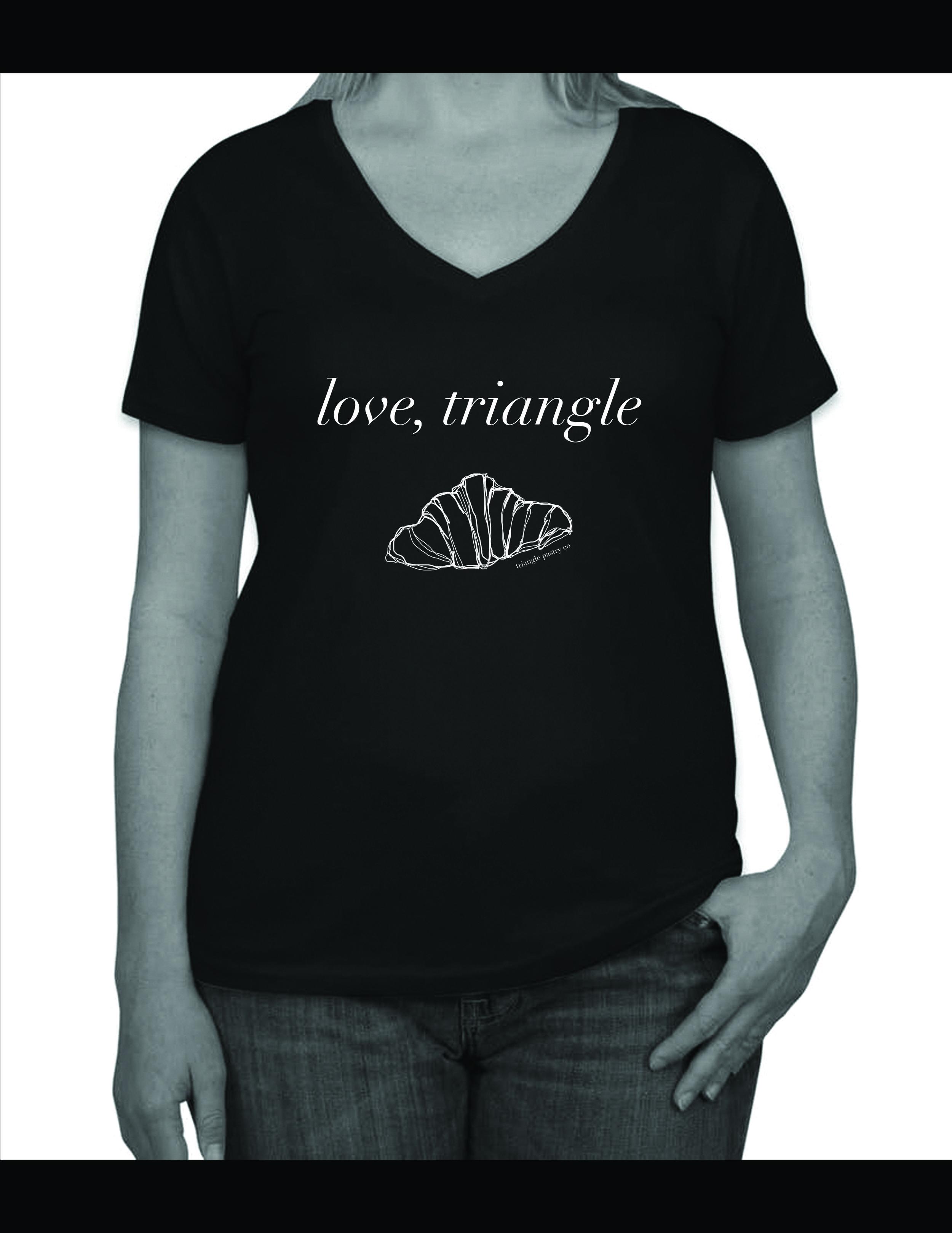 """Love Triangle"" T-shirt mockup."