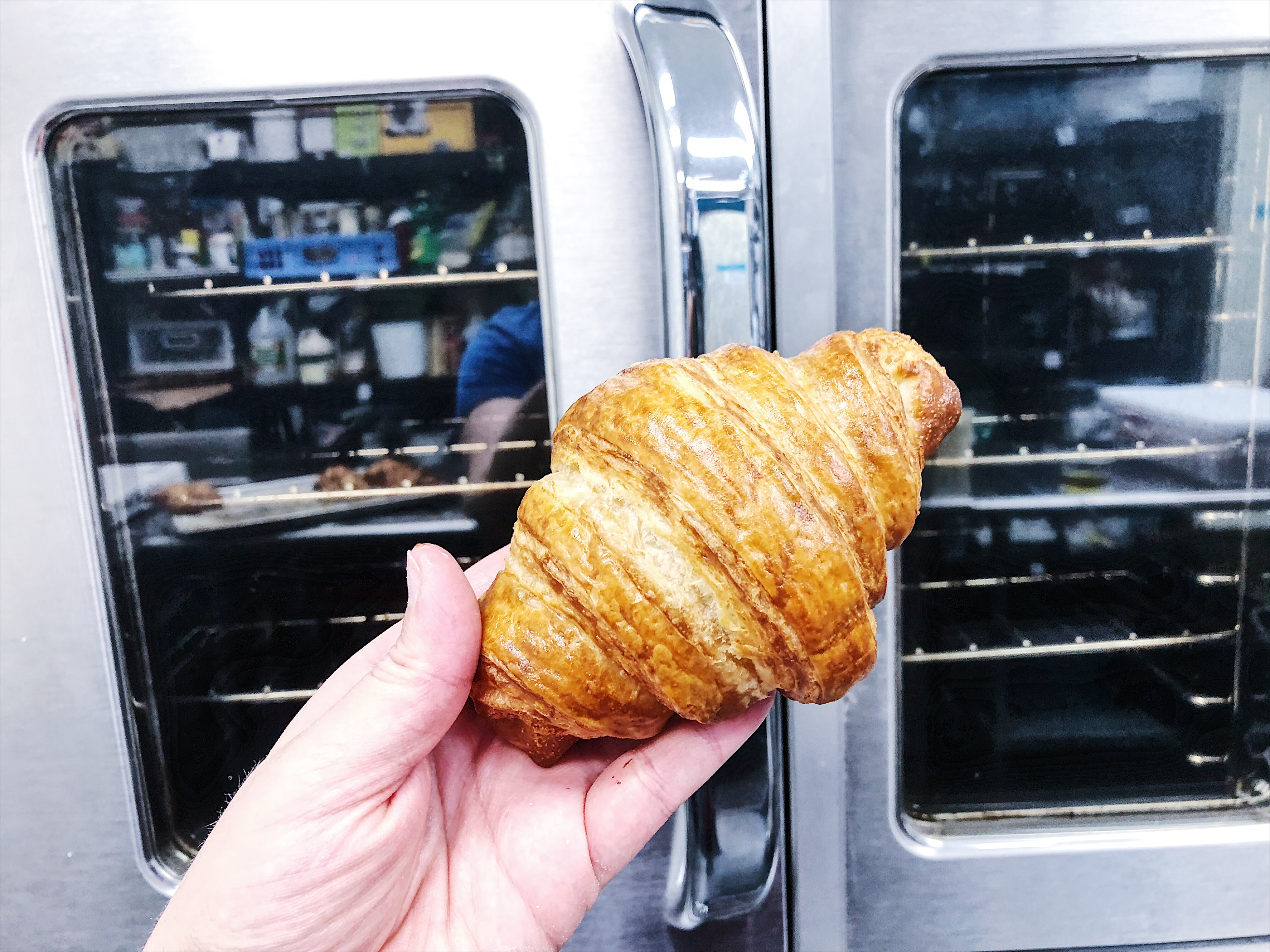 Classic croissant straight out of the oven.