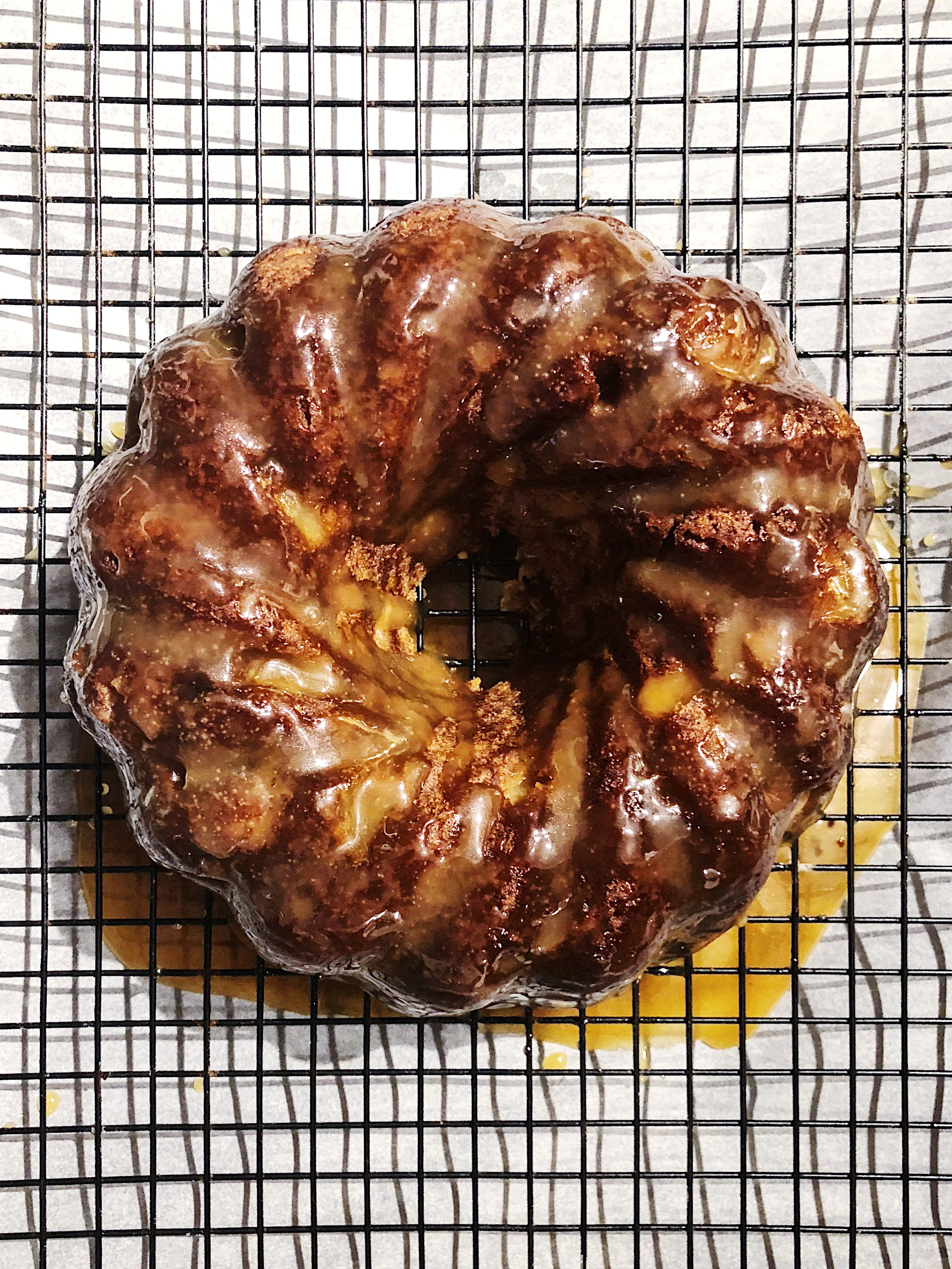 This Honey Caramel Apple Cake gets made in a bundt pan to celebrate the cyclic nature of the year.