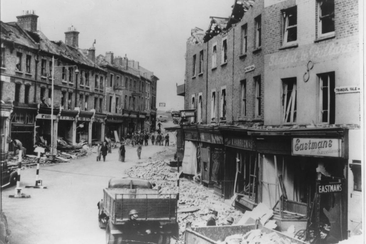 V2 War damage in Blackheath.1945.