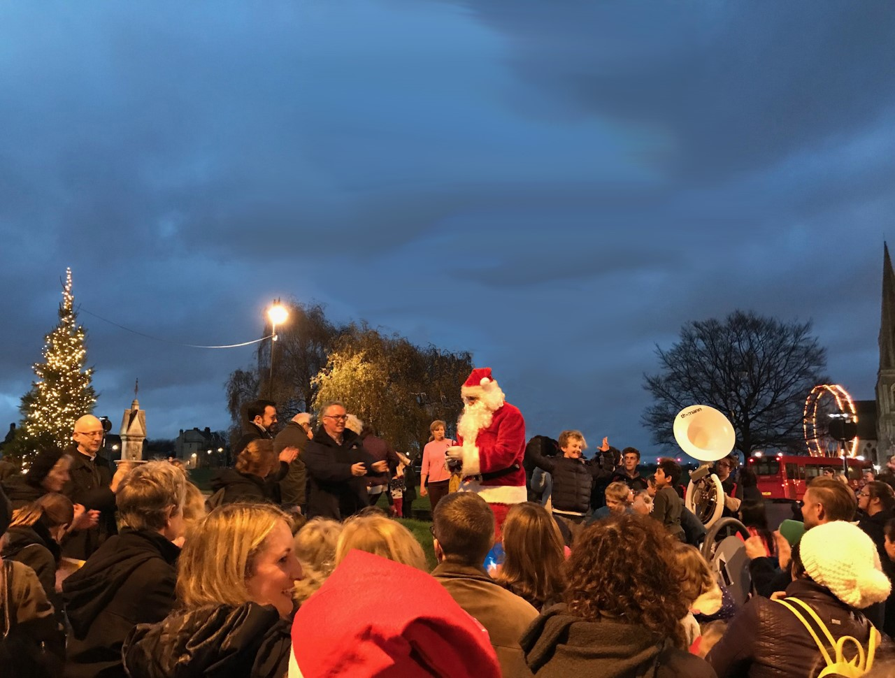 Father Christmas leads the count down for the Christmas tree lights switch on.