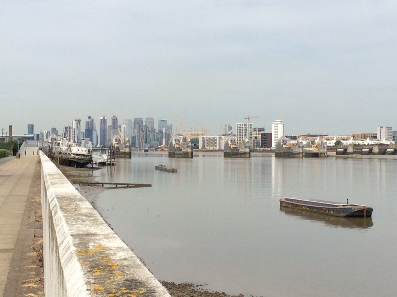 Woolwich Thames barrier and pathway to Greenwich.