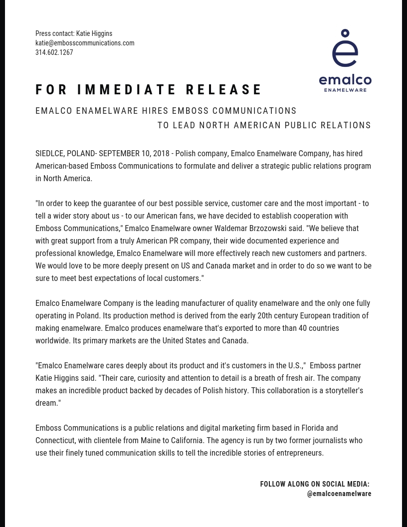 Emalco Enamelware hires Emboss Communications to lead North American Public Relations.jpg