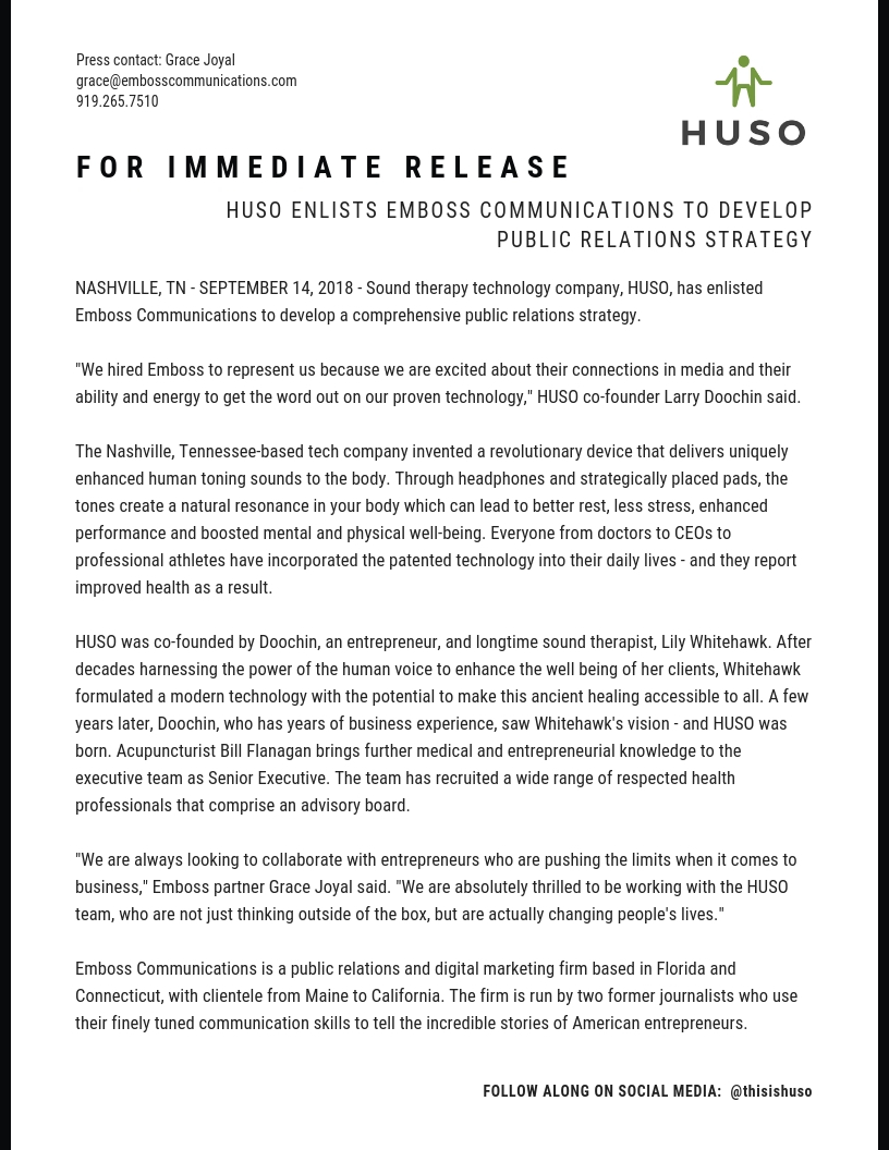 HUSO enlists Emboss Communications to lead Public Relations strategy.jpg