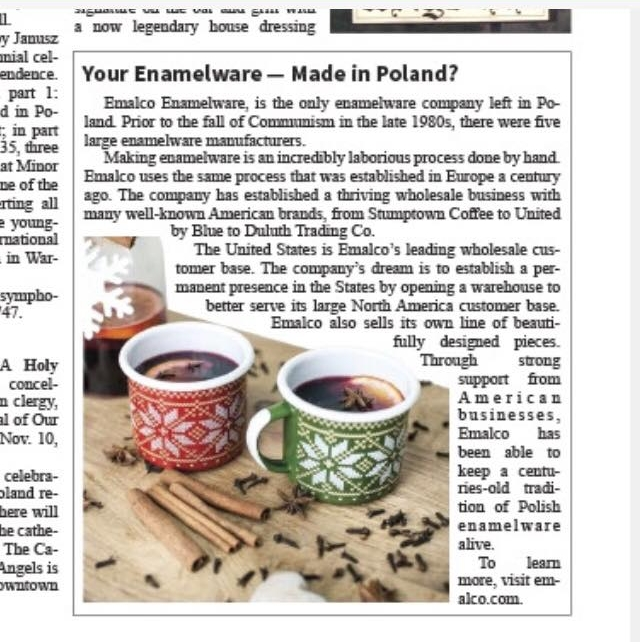 Emboss client, Emalco Enamelware, can be found in the most recent edition of the Polish-American Journal. -
