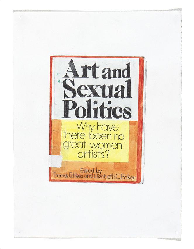Book Cover (Linda Nochlin)  28 x 38cm (graphite, watercolour and gouache on paper)  Exhibited at the 157th Annual Exhibition of the Society of Women Artists, 2018
