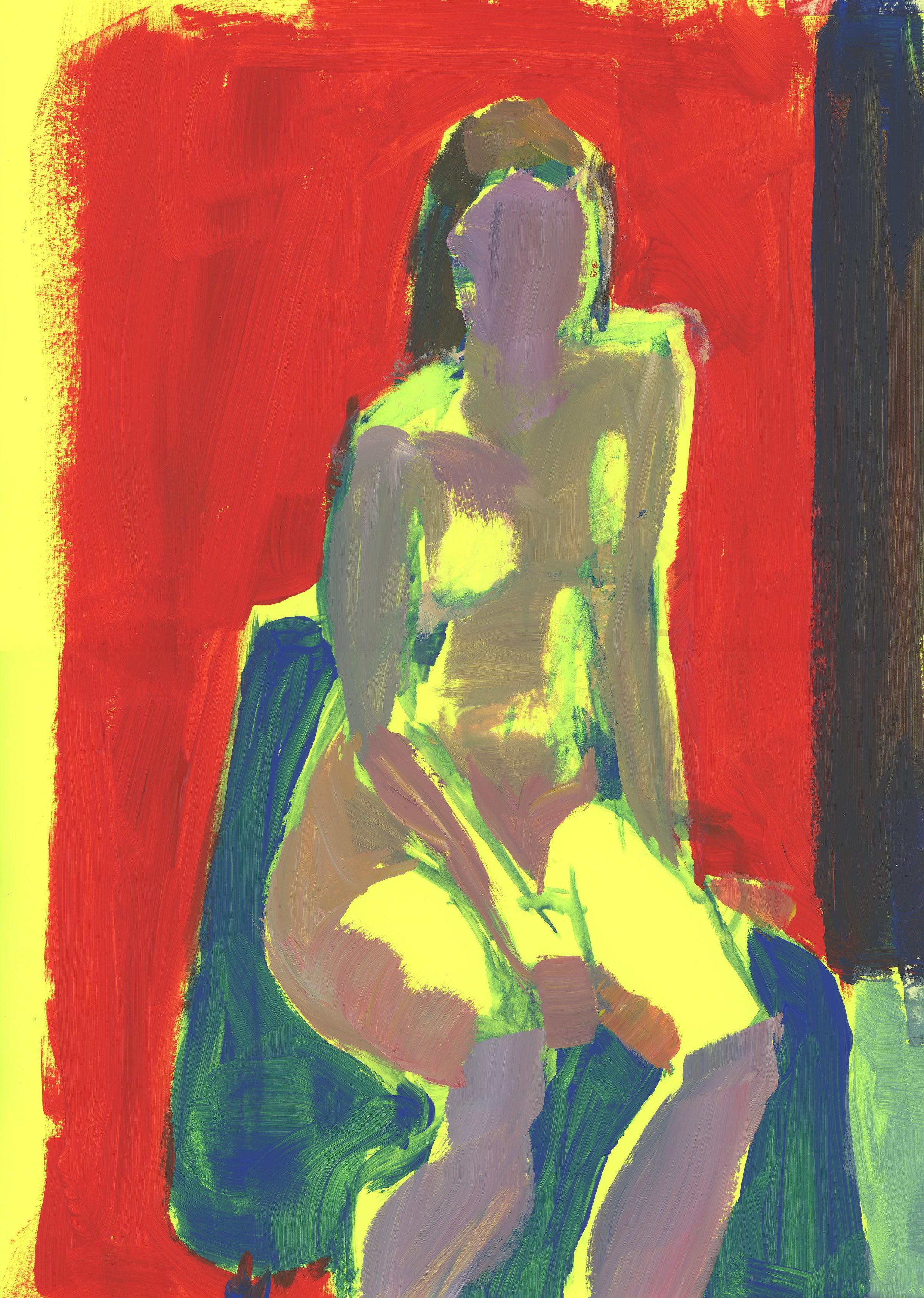 Fluorescent Jacqueline – acrylic on card, 2018