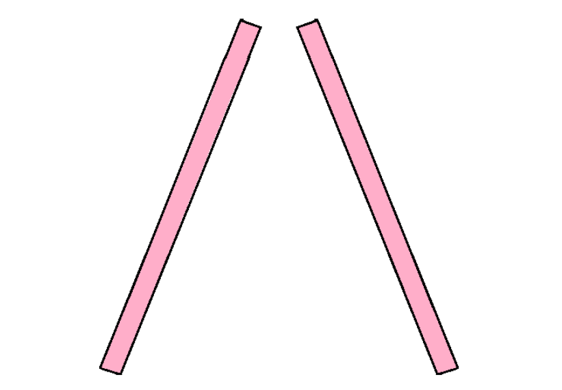 - Start by laying two 2x4s fat side down next to each other at equal and opposite angles.