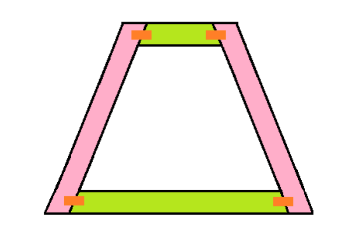 - Next, attach the wood together with truss connector plates. Attach to the spot indicated by the orange. Put connector plates on both sides of your frame to have a total of eight plates per frame.