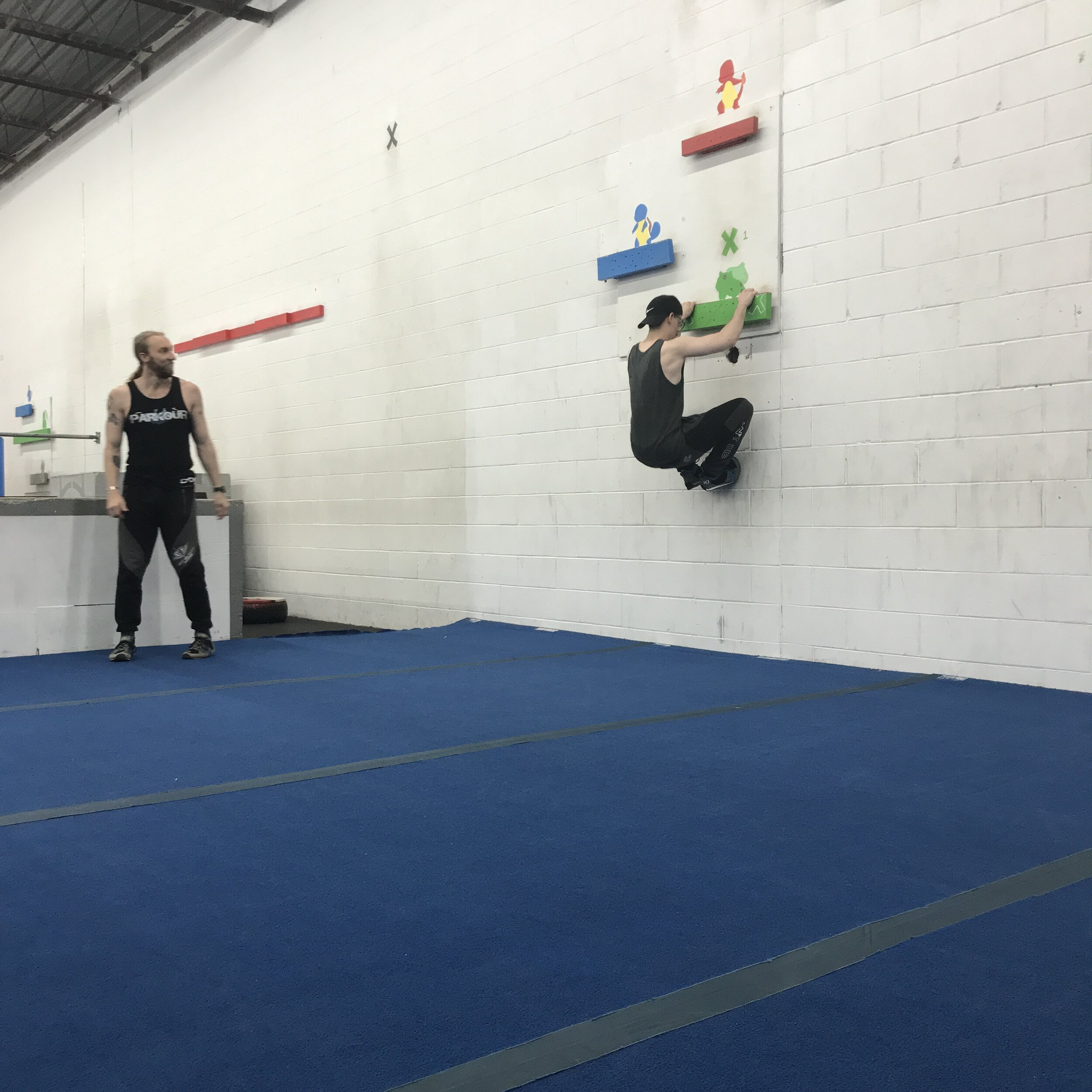 Andrew's intro class, his first time trying Parkour