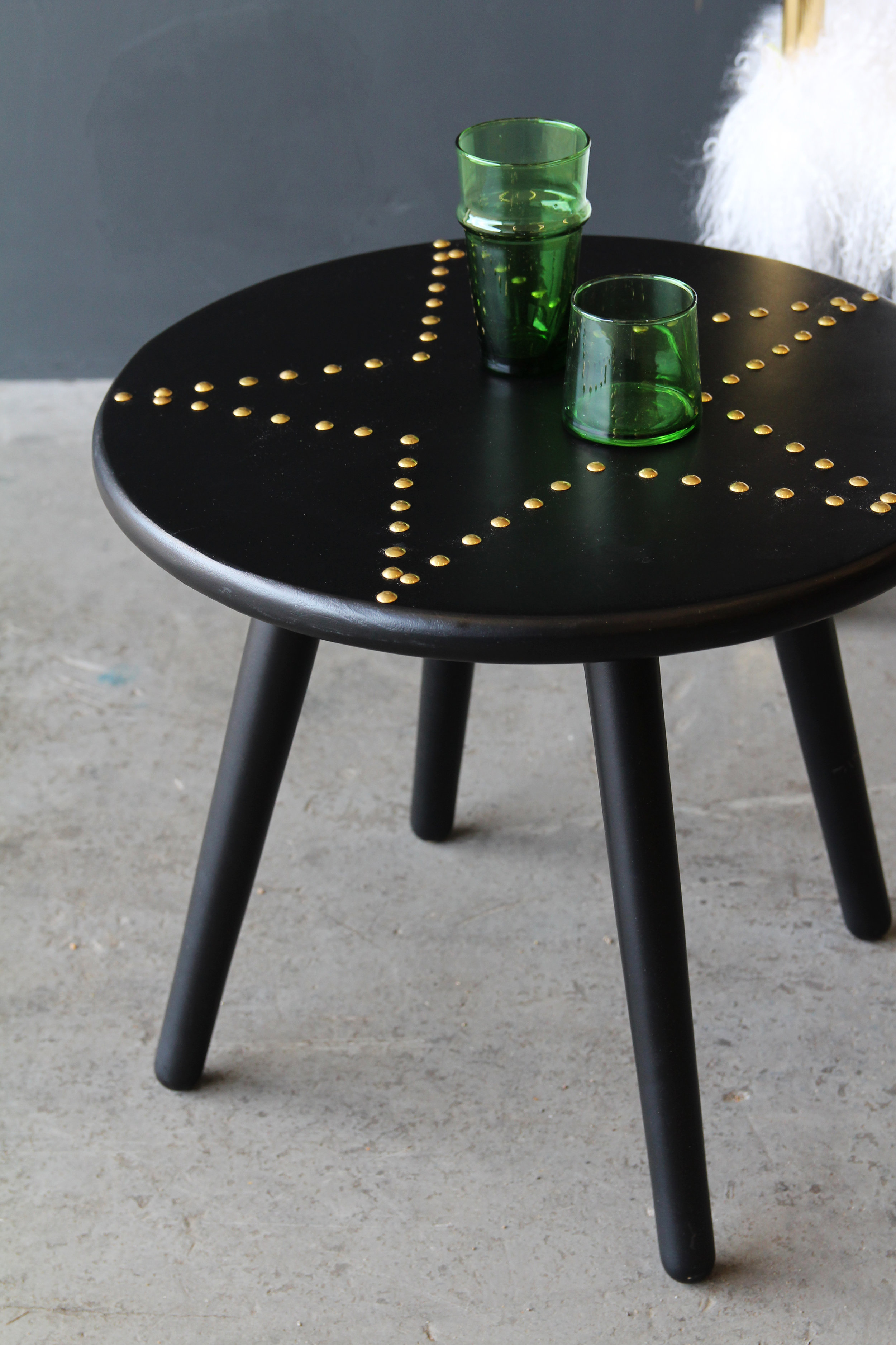 Black & Gold Star Studded Side Table £120.00  Add some star studded glamour to your home - literally! This Black & Gold Star Studded Side Table is the perfect accessory to any room and has the versatility of being used as a stool should you wish to- Black and made from wood, the top then has gold coloured press studs in the shape of a star which whilst simple, has a really great look and feel to it.   www.rockettstgeorge.co.uk