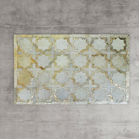 Gold Star Cowhide rug -£395.00  This gold leafed and natural leather cow hide is patch worked in an Islamic star pattern to make this beautiful Gold Star Cowhide Rug.   www.grahamandgreene.co.uk