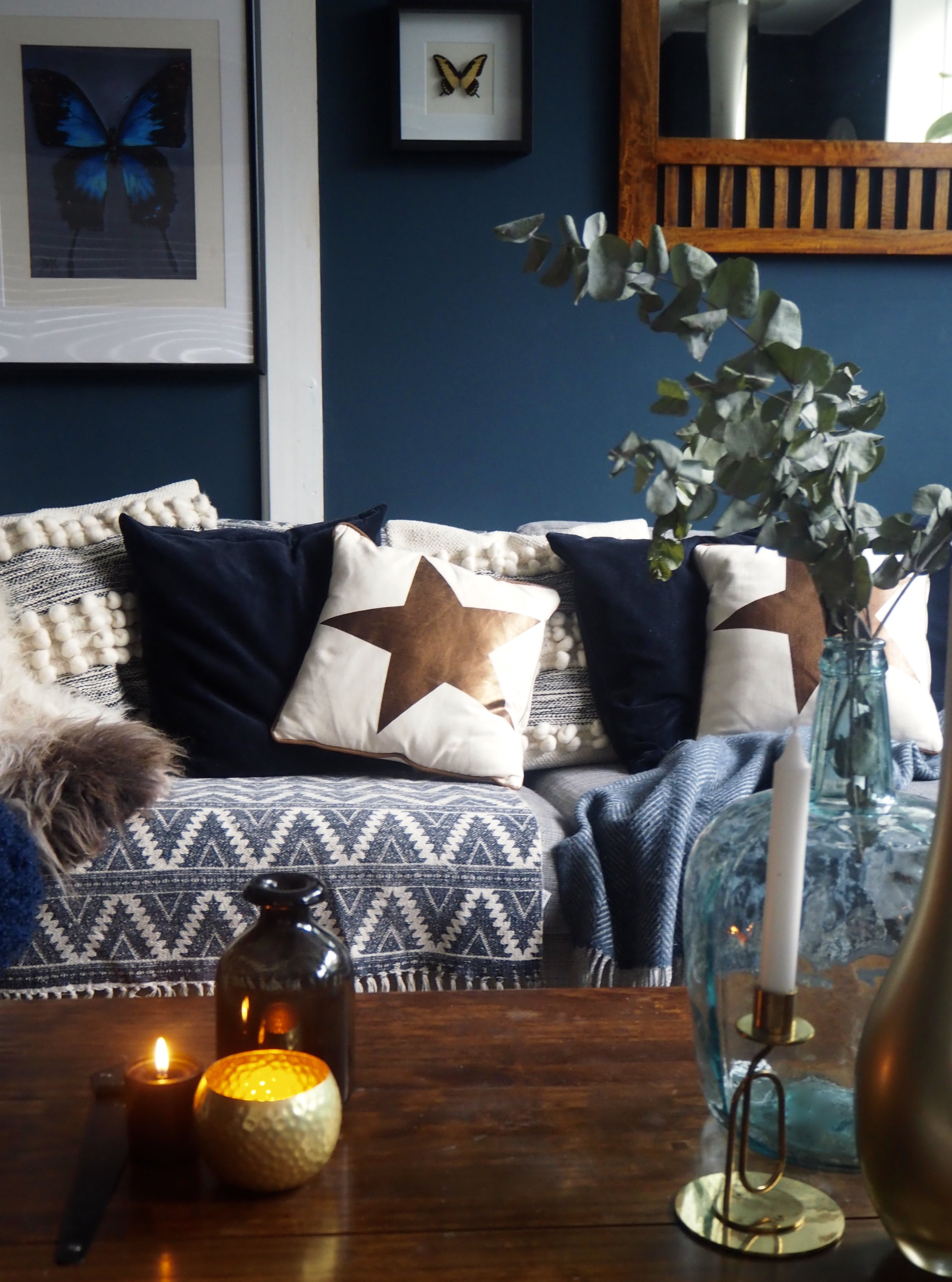 I love these copper star cushions on my sofa....