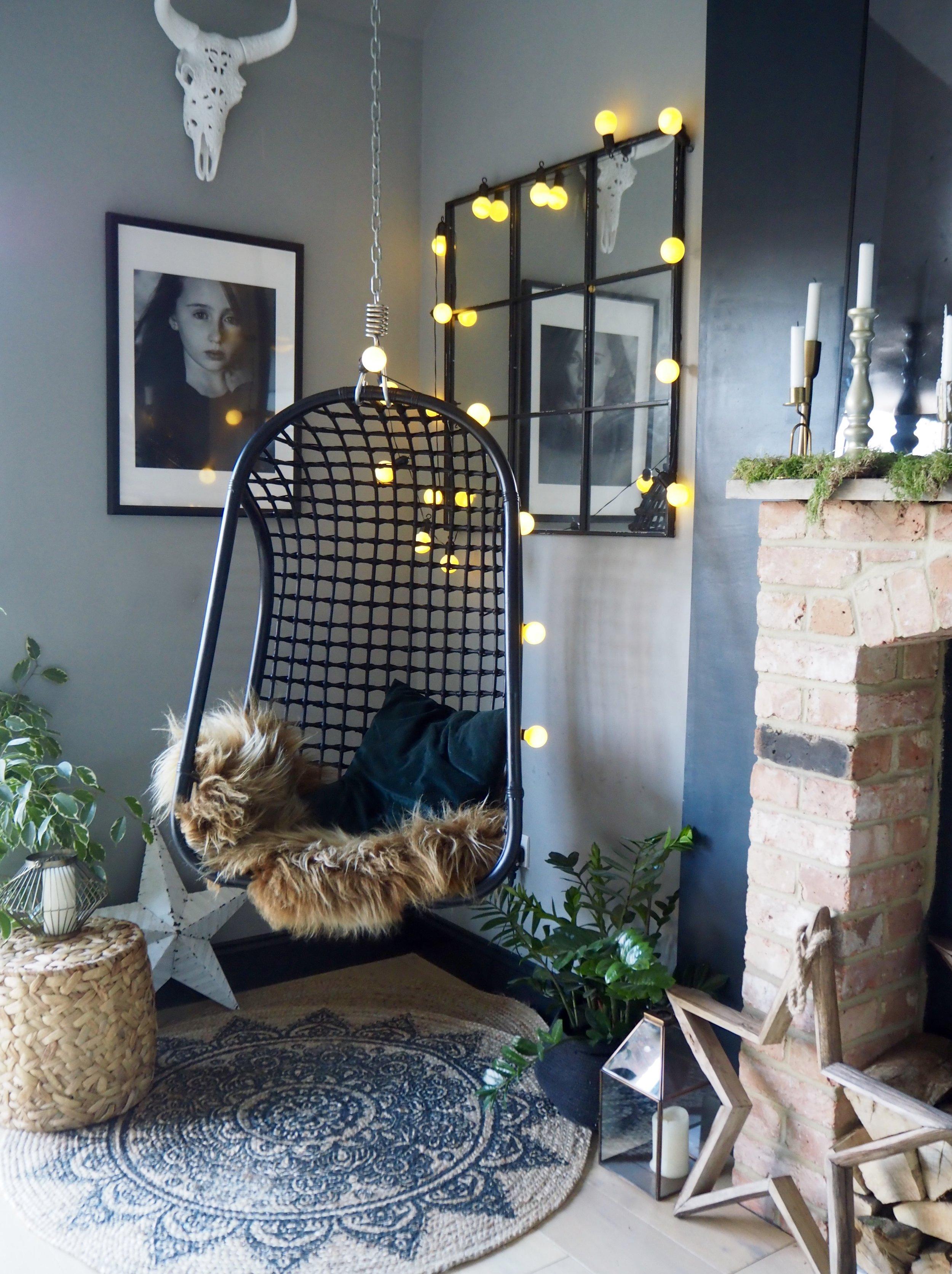 Hanging rattan chair -Rustic Kitchen -Cosy Corner