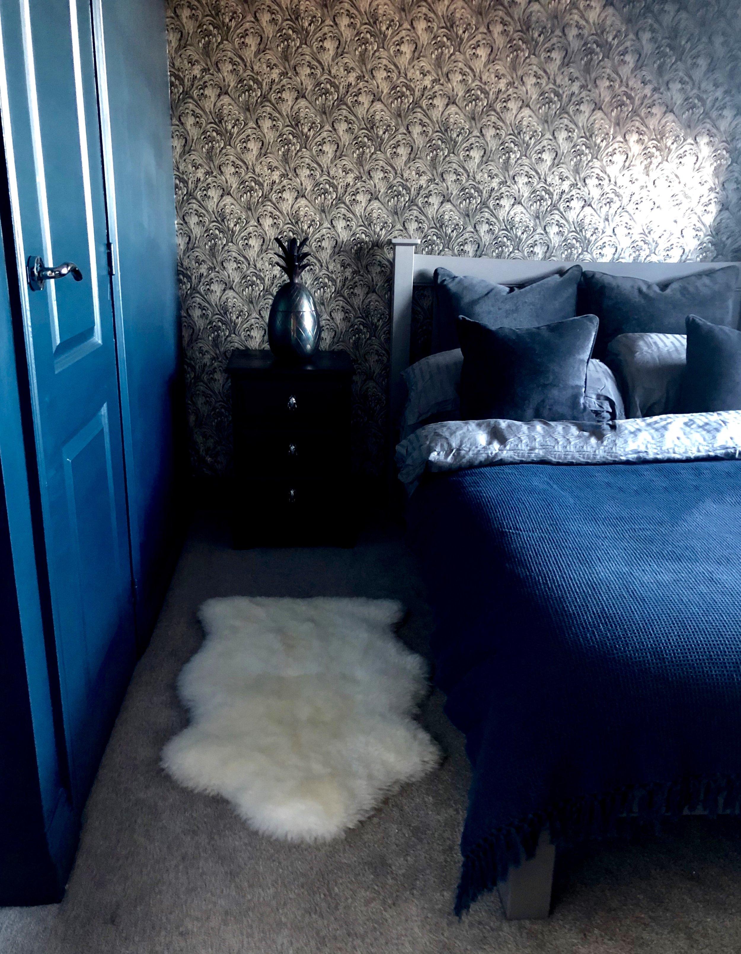 Wall/Cupboard paint- 'Lone Splendor'   Valsparpaint.co.uk   ...... Faux sheepskin rug-   Ikea.com    Wallpaper- 'Pavone' (Clarke & Clarke)   Wallpaperlux.co.uk