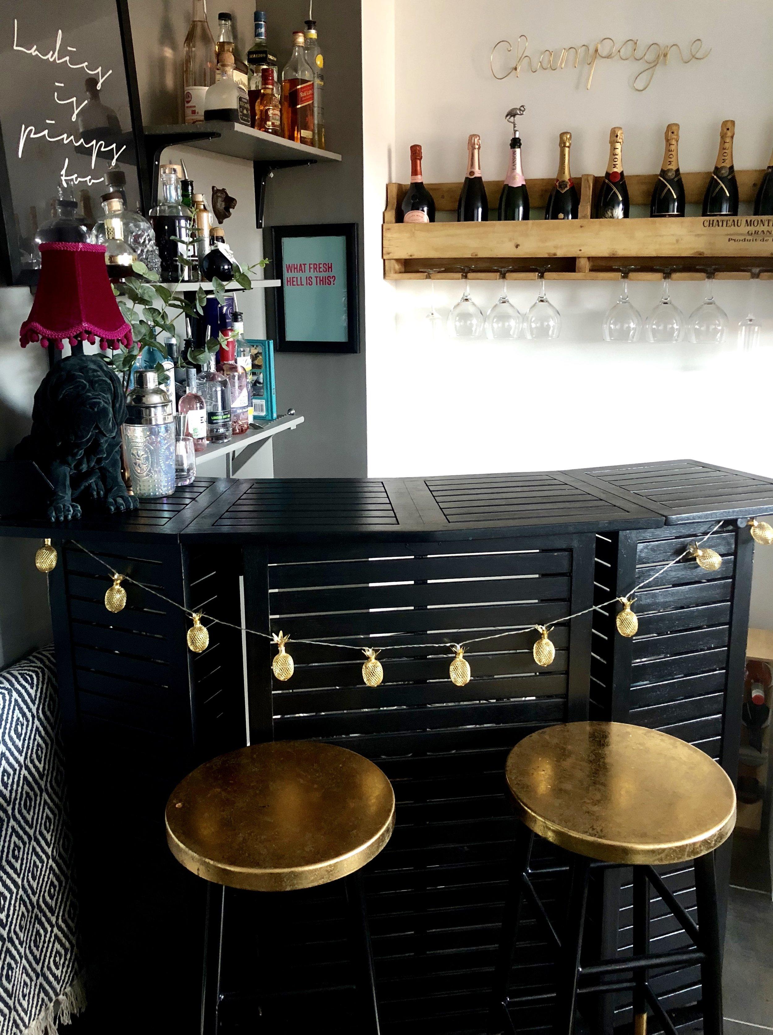 Champagne Rack-  acacia home.co.uk   ...... Gold Pineapple String Lights-   asos.com
