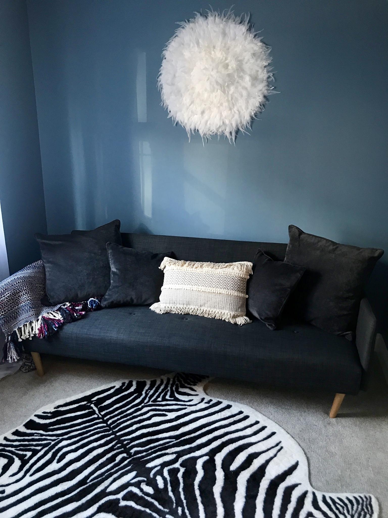 JuJu wall hanging-   Donnamariakelly.co.uk   ...Zebra Rug-   Ikea.com   ...... Tassle Cushion-   Lilliandaph.co.uk    Walls- 'Blue Heron'   Valsparpaint.co.uk