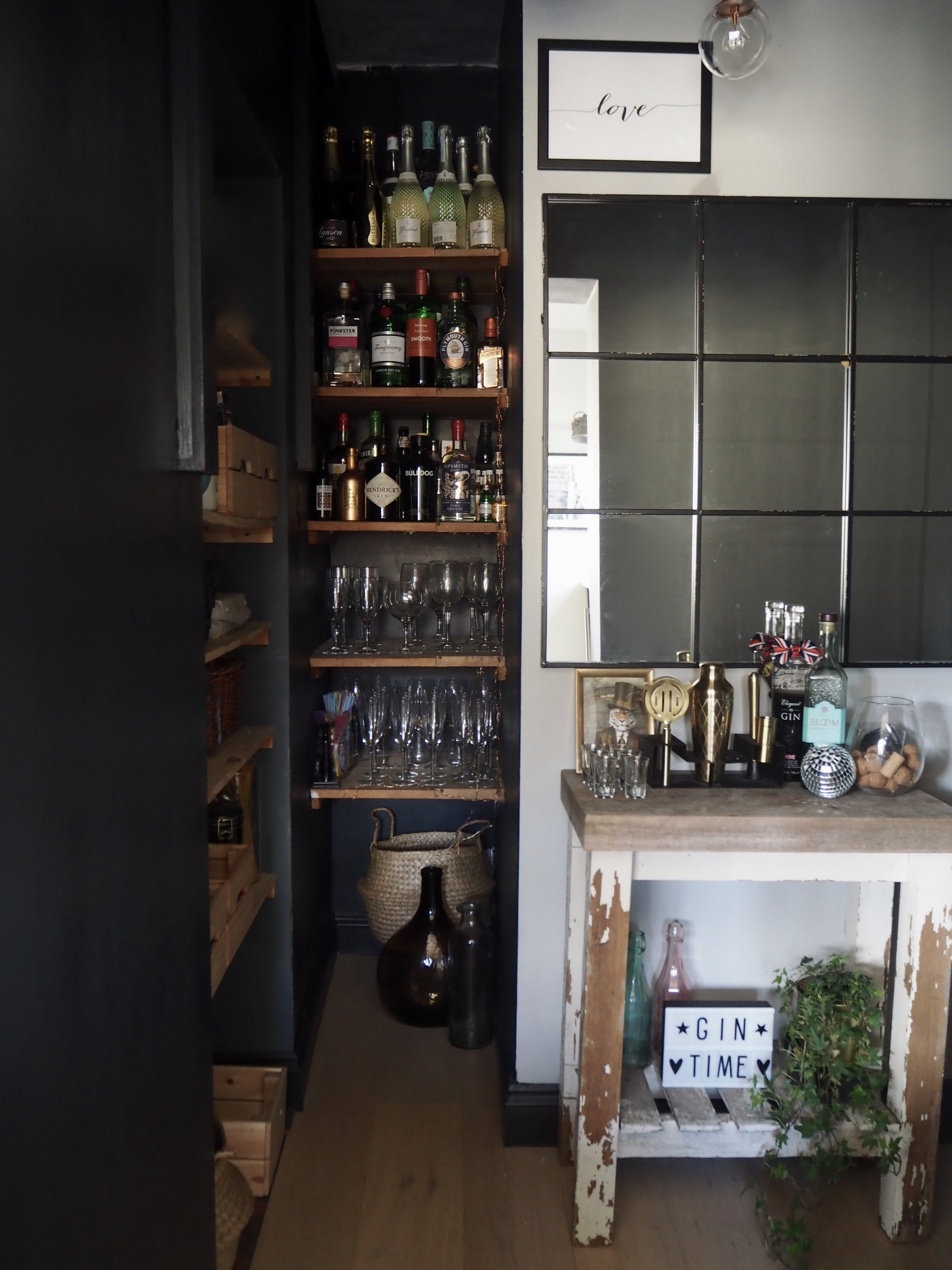 The bar area looking a little tidier.....  Mirror- Tobias Metal Mirror in Black- £103.50   www.maisonsdumonde.com