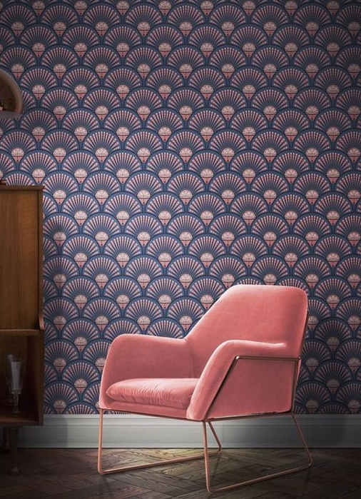 This 1920's inspired wallpaper from Divine Savages brings art deco opulence to your interior with exquisite colours of blush and blue, it is a fabulous backdrop to the pink velvet chair and vintage sideboard.  Deco Martini 'Blush' £140 per 10m roll   www.divinesavages.com