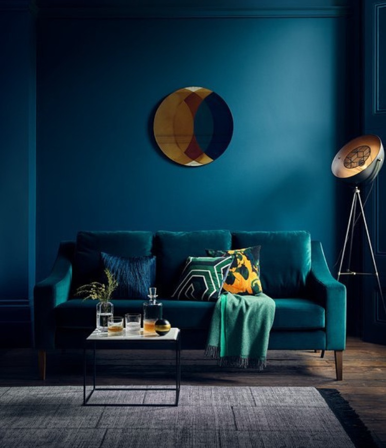How fabulous does this teal sofa look against the bold dark blue walls... Richmond 3 seater sofa (in velvet teal)from £1,999    www.heals.com