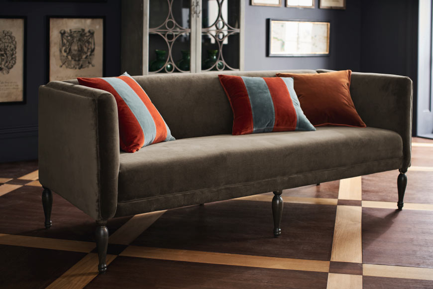 Harking back to the 70's we'll be seeing more browns in 2018.....I love this tuxedo sofa, upholstered in luxurious elk brown coloured 100% cotton velvet  Lauderdale Sofa £1,675   www.oka.com