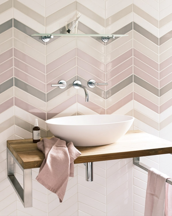 These tiles from Fired Earth are available in 7 colours and make a wonderful herringbone pattern, they are perfect for kitchens and bathrooms.  Futurism Tile -   www.firedearth.com