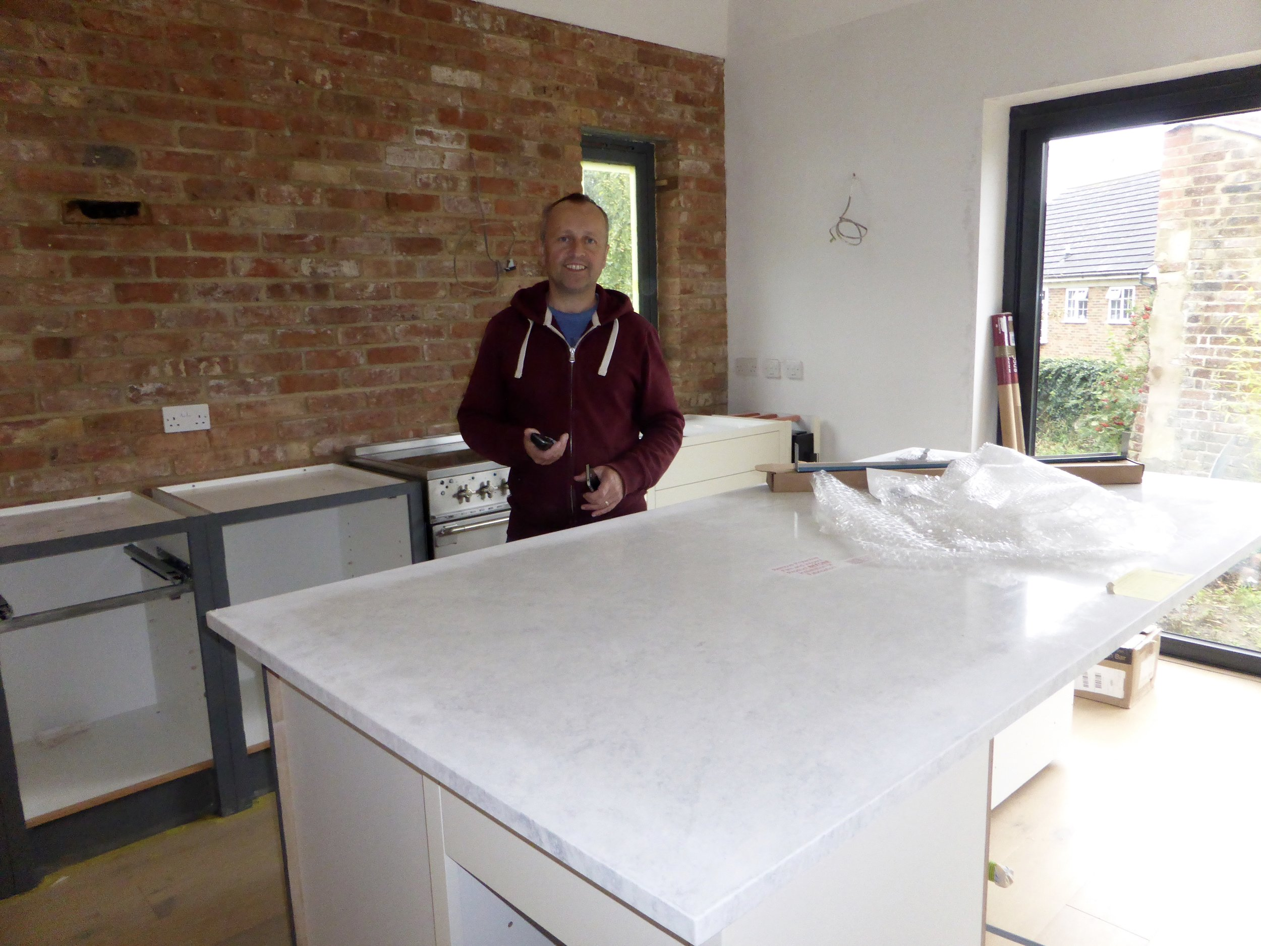 Jim happy to finally have the worktops arrive! They are Encore solid surface composite worktops from   Bushboard..  ... Another budget friendly option as the composite, rather than being solid all the way through, is wrapped around an inner core and therefore gives you all the same qualities as full composite worktops but at a much cheaper price