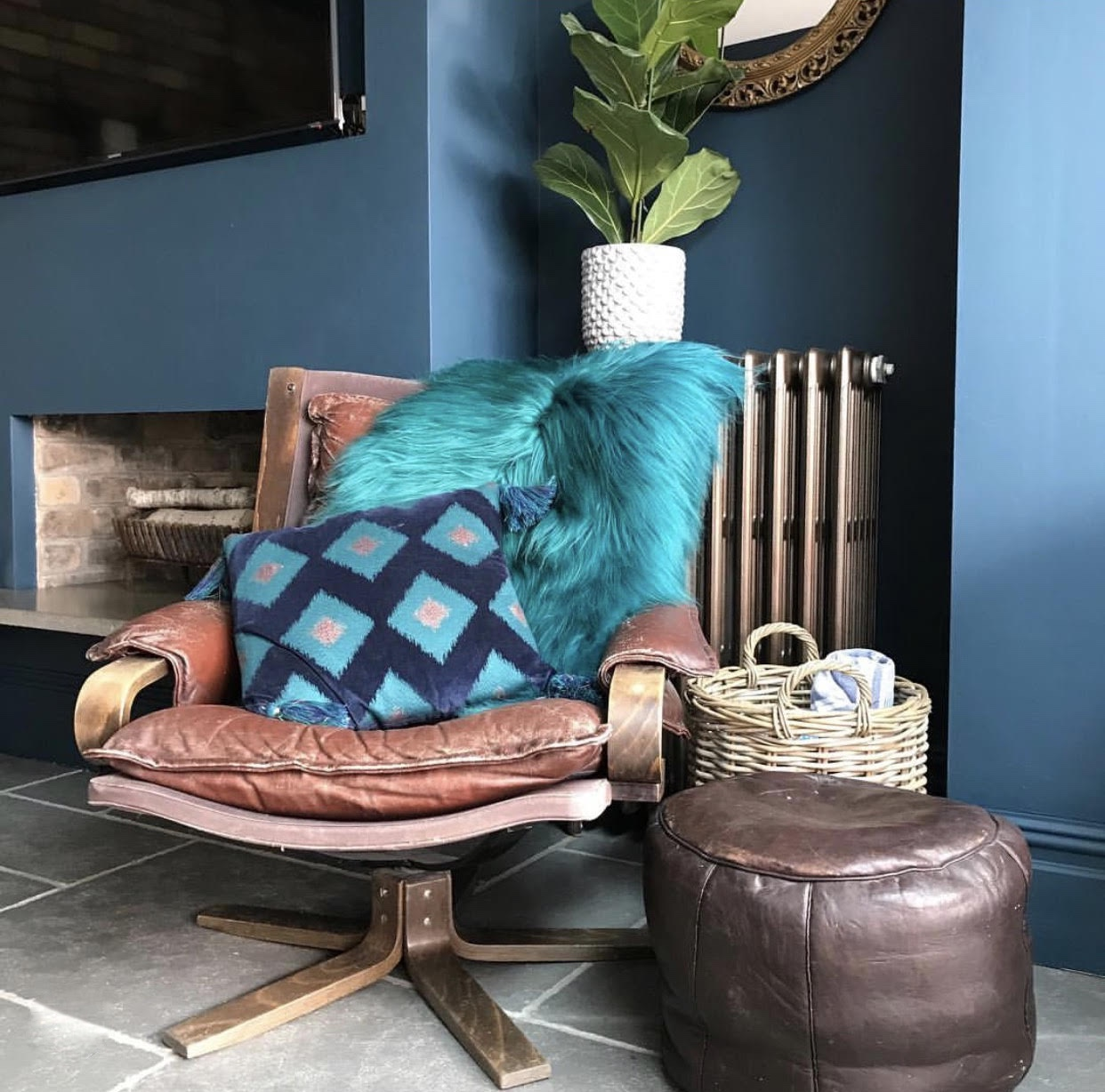 Miffs home is full of gorgeous textures...... This blue sheepie is from   @kate_learmonth   and the leather armchair an eBay find for £70