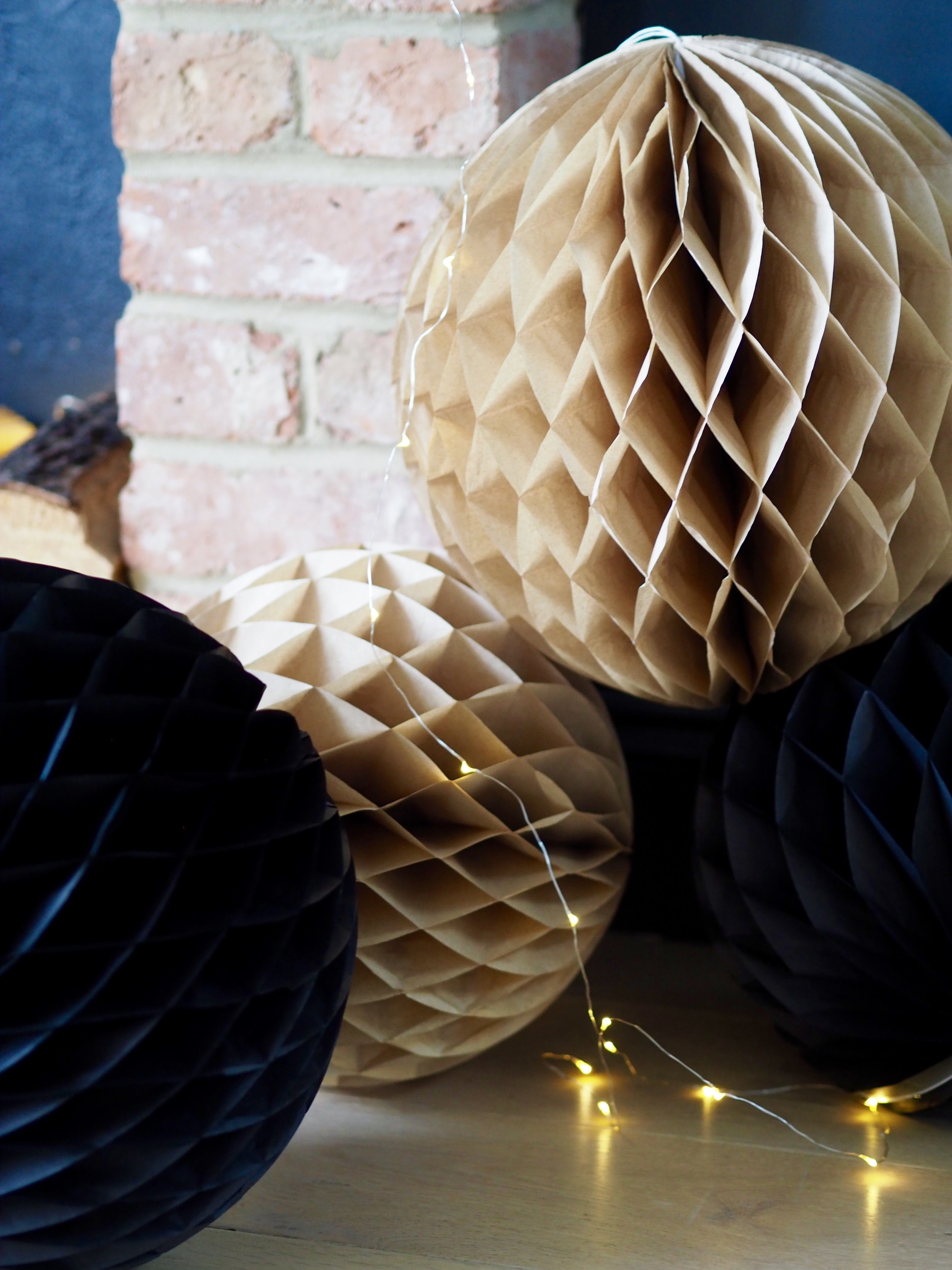 These honeycomb ball decorations look great hung but also in clusters on the floor….    Set Of 2 Honeycomb Ball Decorations - Champagne