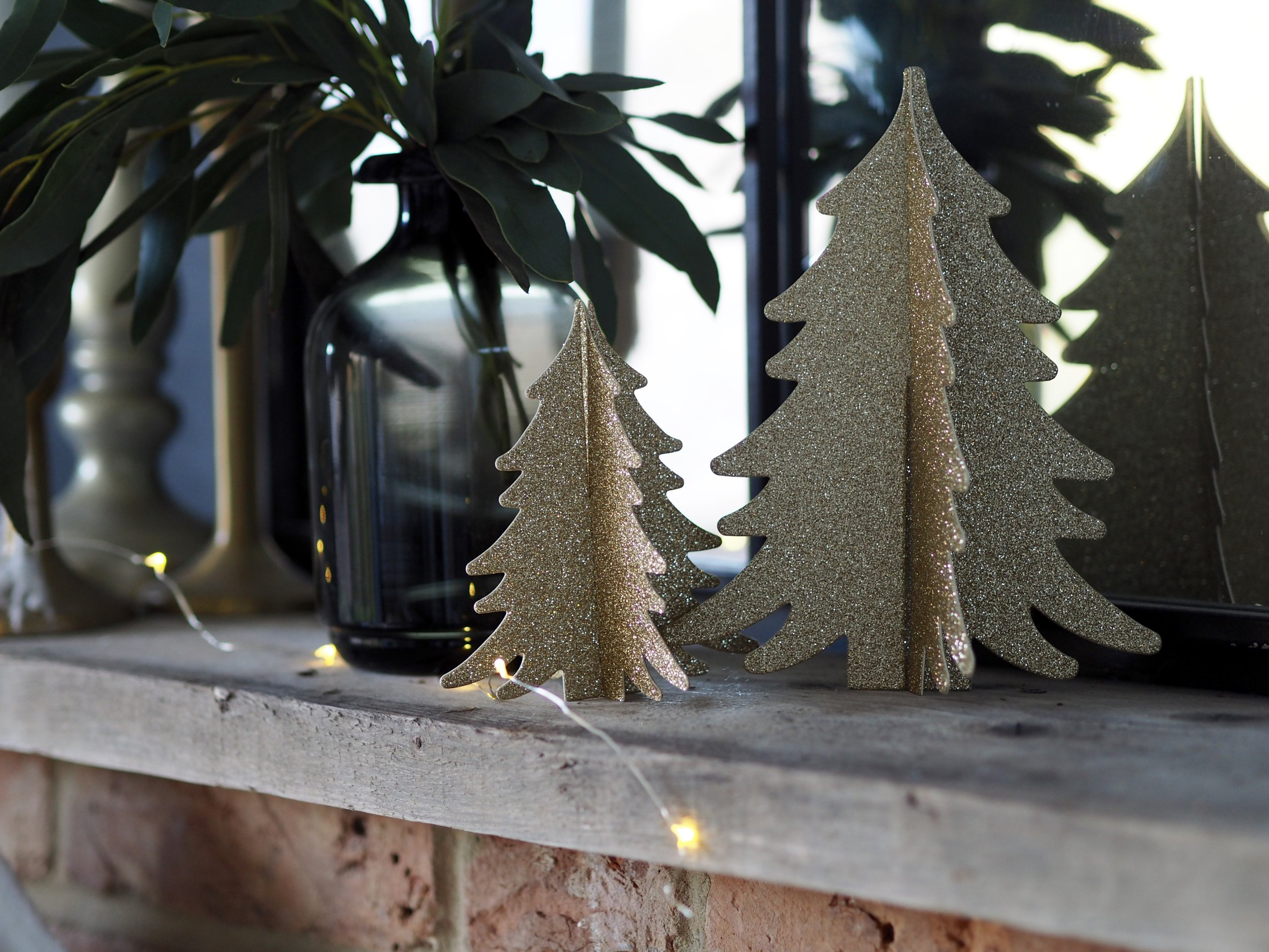 Simple but effective these trees add just the right amount of sparkle…..    Set Of 2 Paper Christmas Trees - Gold