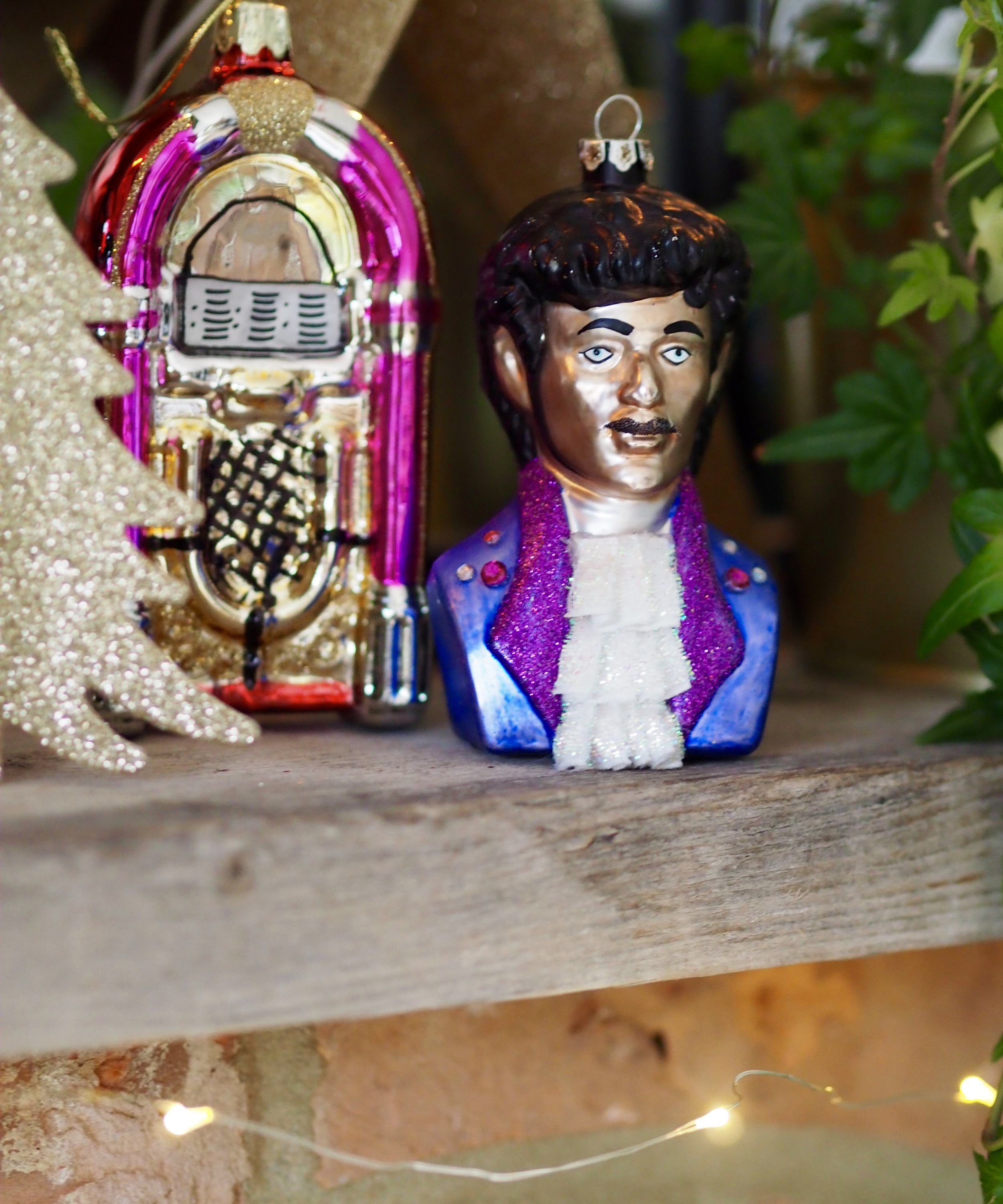 How cool is this Prince decoration, have him hanging from the tree or pop him on the mantle like I have here…..    Prince Inspired Hanging Decoration       Retro Jukebox Hanging Decoration