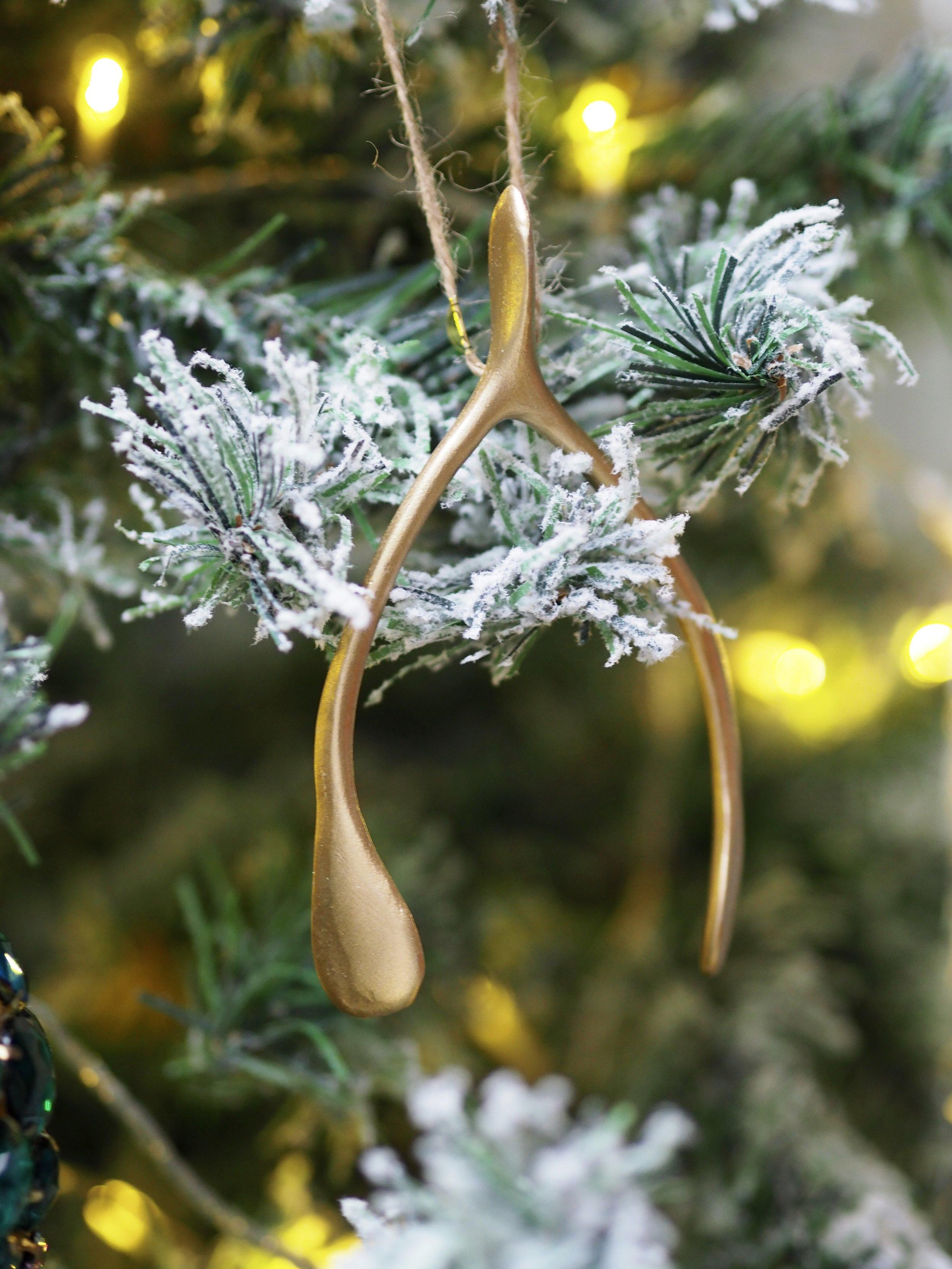 Gold Wishbone Hanging Decoration