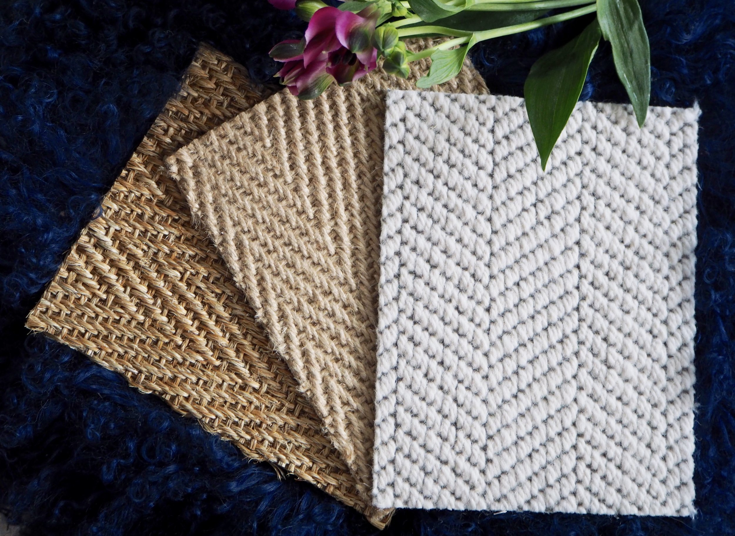 Wool Cascade - 101 Light Cloud    /    Jute - Herringbone    /     Sisal Herringbone -  Her120 Biscuit