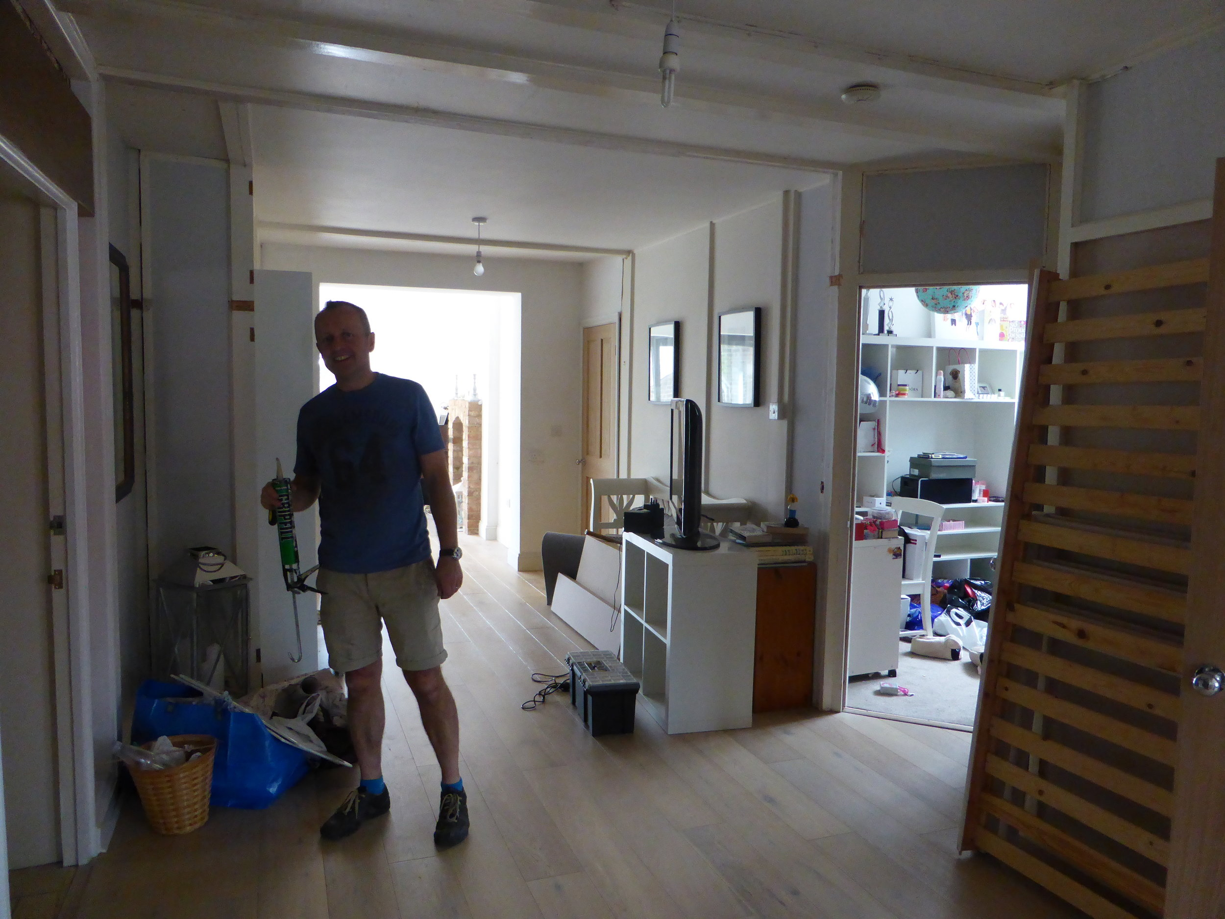 Jim in the open plan area before the rooflight was fitted….. We had to keep doors to other rooms off it open to give the area natural light.